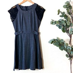 Maurices Midi Gray Dress Lace Sleeve Size L